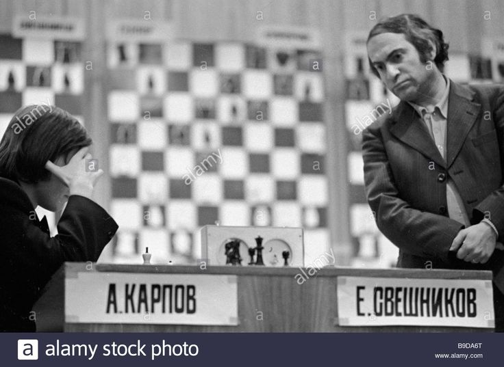 Mikhail Tal ex world champion international grand master right is watching the game of Anatoly Karpov left and Evgeny