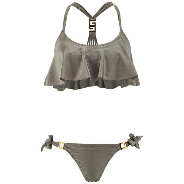 South Beach Women's Crop Swing Bikini - Planet (€24) ❤ liked on Polyvore featuring swimwear, bikinis, gold, south beach swim wear, south beach, gold swimwear, galaxy print bikini and bikini swimwear