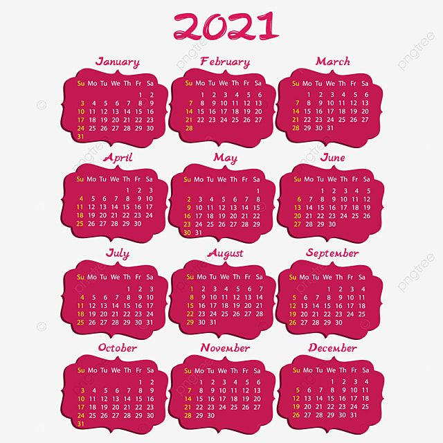 2021 Calendar In Pink Frames Calendar 2021 Yearly Calendar 2021 Png And Vector With Transparent Background For Free Download Pink Calendar Pink Frames Clock Template