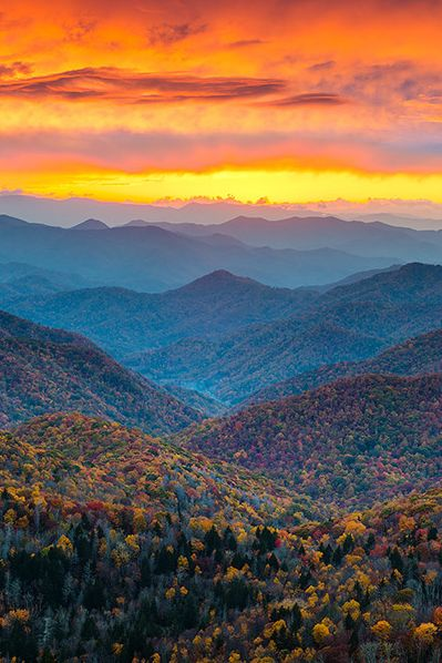 Blue Ridge Parkway Fall Sunset by Dave Allen