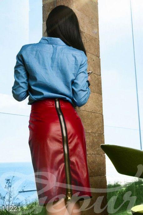 Gepur | Красная кожаная юбка арт. 11221 Цена от производителя, достоверные…
