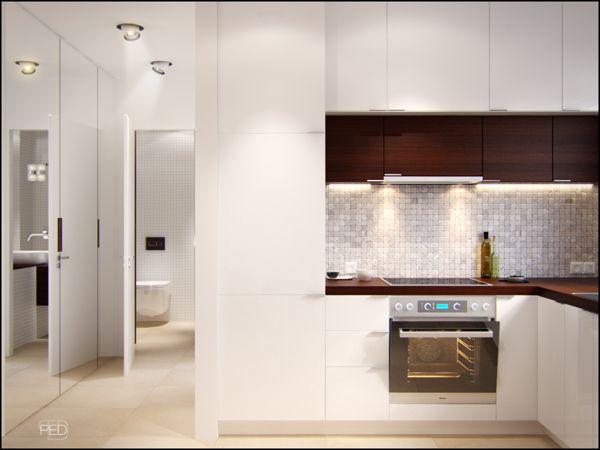 Upper kitchen cabinets in different depths