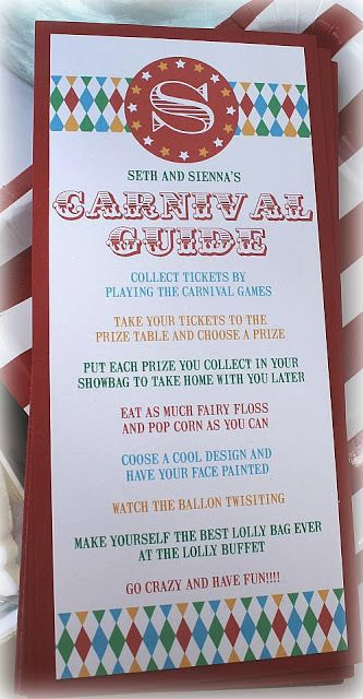 Carnival Guide...also a good prize table set up