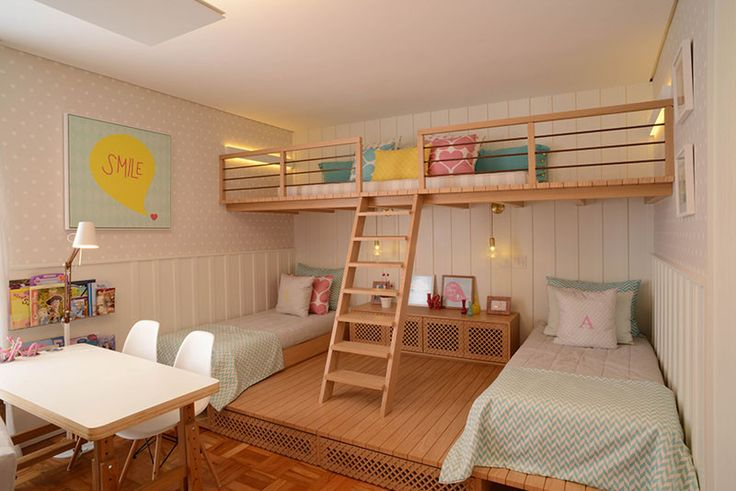 """""""When Cadas Arquitetura were asked to design an apartment for a family in Sao Paulo, Brazil, they decided to create a fun room for the girls, with a playspace in a loft above the beds."""""""