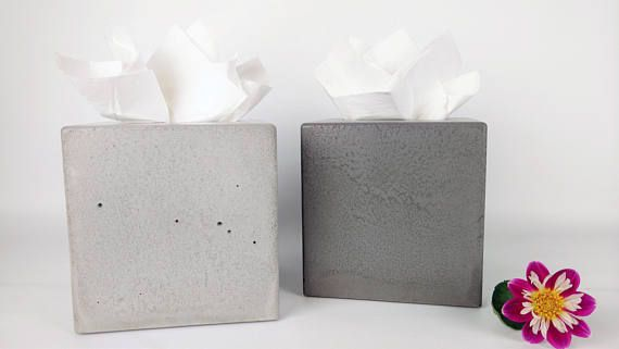 Concrete Tissue Box Cover / Tissue Box Cover Square / Modern Tissue Box Holder / Facial Tissue Box / Facial Tissue Holder / Kleenex Box Cover / Kleenex Box Holder / Square Tissue Box Cover / Bathroom Organization / Bathroom Decor  ♦ NEW & IMPROVED DESIGN! ♦  Length: 6 Width: 6 Height: 5.75