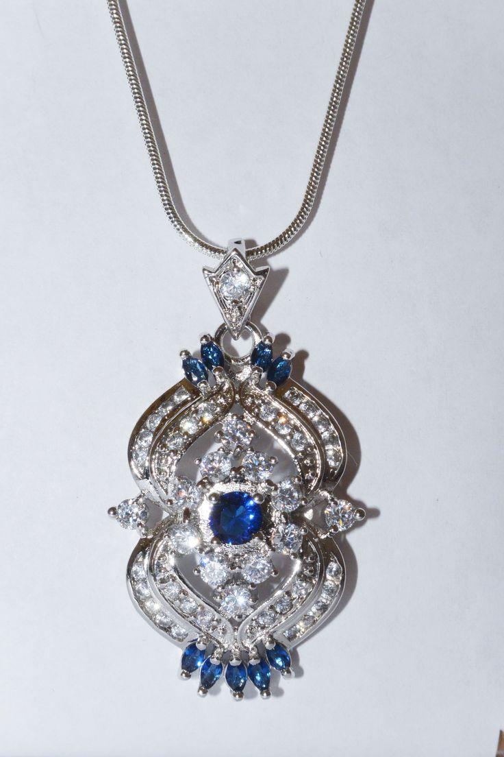 Blue sapphire cz large necklace