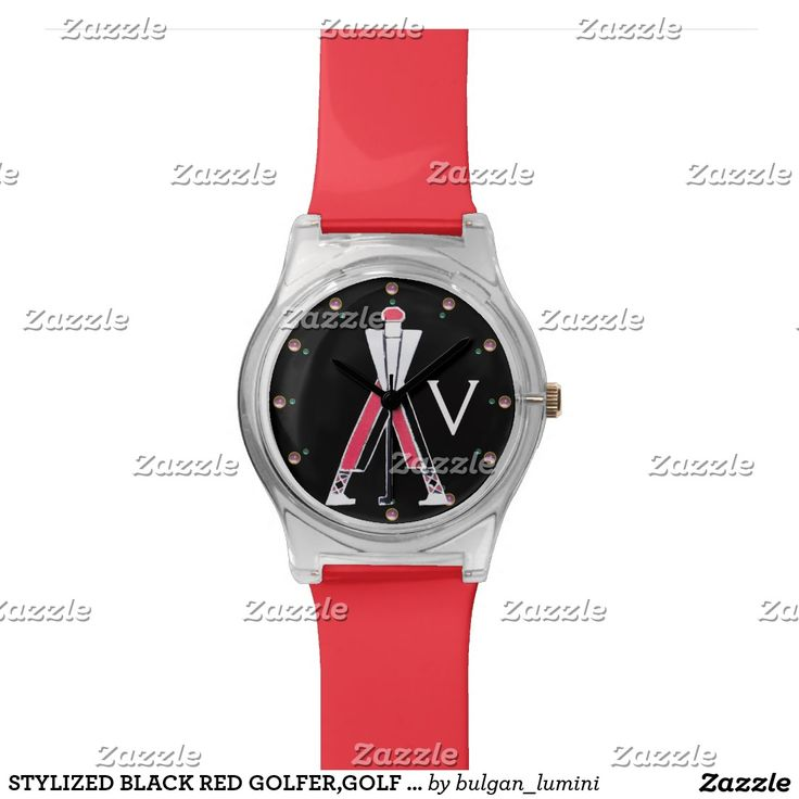STYLIZED BLACK RED GOLFER,GOLF PLAYER MONOGRAM WRISTWATCH  #golf #golfplayer #golfer #sport #fashion #sports #golfers