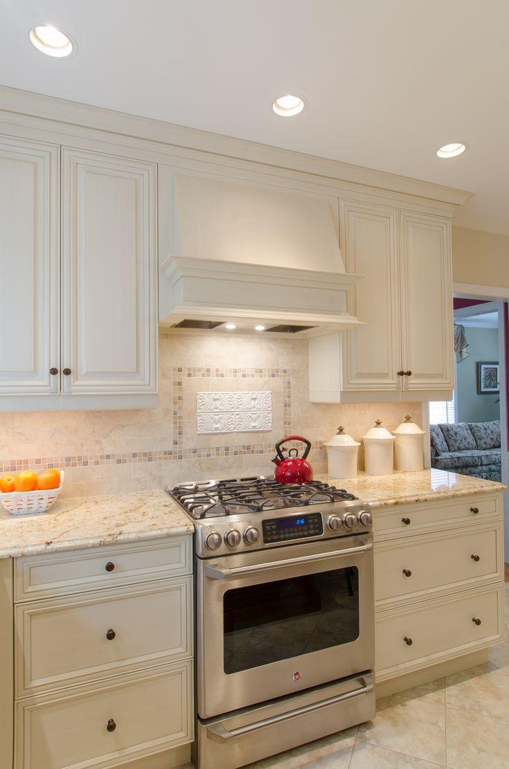 Wood Hood   Two Toned Cabinetry, Granite Countertop, Custom Wood Hood,  Kitchen Island
