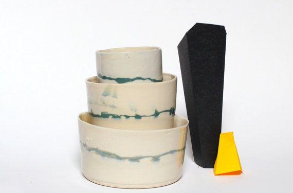 3 handmade porcelain containers la petite by fabriquedebrunswick