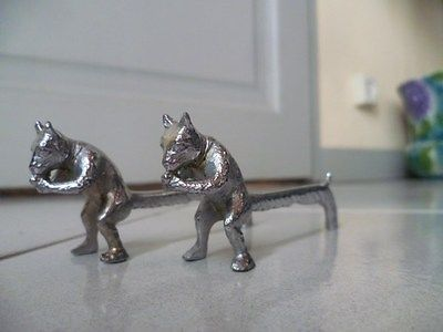 2 Antique FRENCH metal animals KNIFE Rests / Holders SQUIRRELS