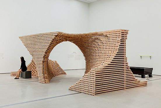 """Part to Whole"" Spiral Sculpture in Wooden Modules 