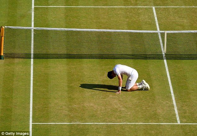Andy Murray collapses in celebration on Centre Court after Championship Point