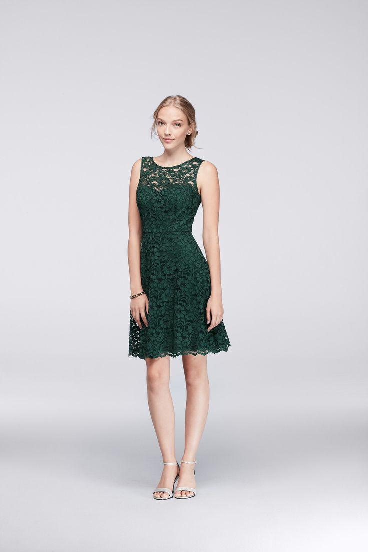 Green Short Sleeveless All Over Lace Bridesmaid Dress by David's Bridal