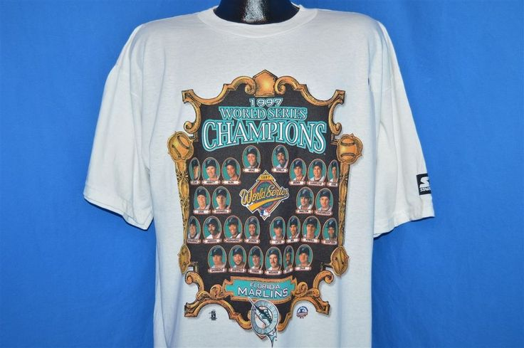 vtg 90s FLORIDA MARLINS 1997 WORLD SERIES CHAMPIONS STARTER DEADSTOCK t-shirt L #Starter #FloridaMarlins