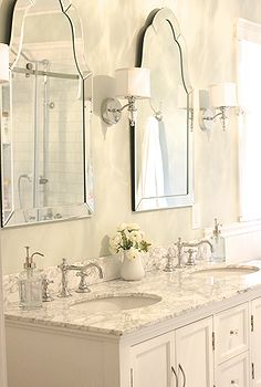 diy master bathroom, bathroom ideas, design d cor, diy, remodeling, These mirrors from Lowes and sconces from Home Depot were both very affordable options and I love the look they create in the bathroom