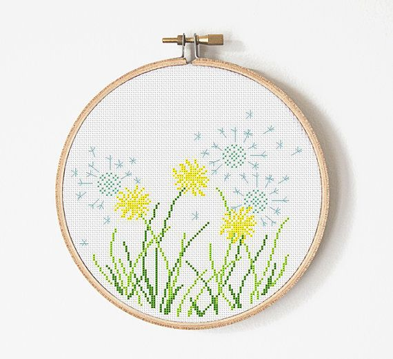 Dandelion Cross Stitch Pattern - Flower Cross stitch - Dandelion Embroidery. This is a digital Cross stitch pattern that you can instantly download from Etsy after purchase. Patterns include a full color chart with color symbols, a thread legend. PATTERN SPECIFICATIONS: Grid size : 108 x 96 stitches Design Area: 7.7 inches x 6.86 inches (19,59см x 17,42 см) on 14-count Aida. Digital PDF format , not a finished product. Cross Stitch patterns are for personal use only. The patterns may not...