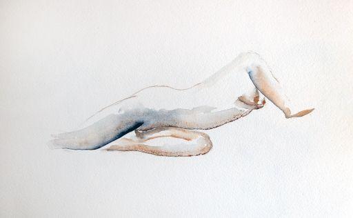 Nu profil Aquarelle encadrée bois noir avec passe-partout MyOwnArtGallery - MOAG - Claude Lapeyre