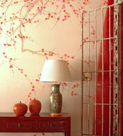 deGournay cherry blossom wallpaper