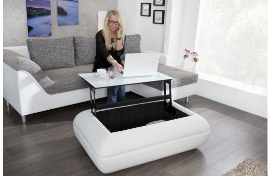 Table basse relevable blanche leone table basse design pinterest metals - Petite table relevable ...