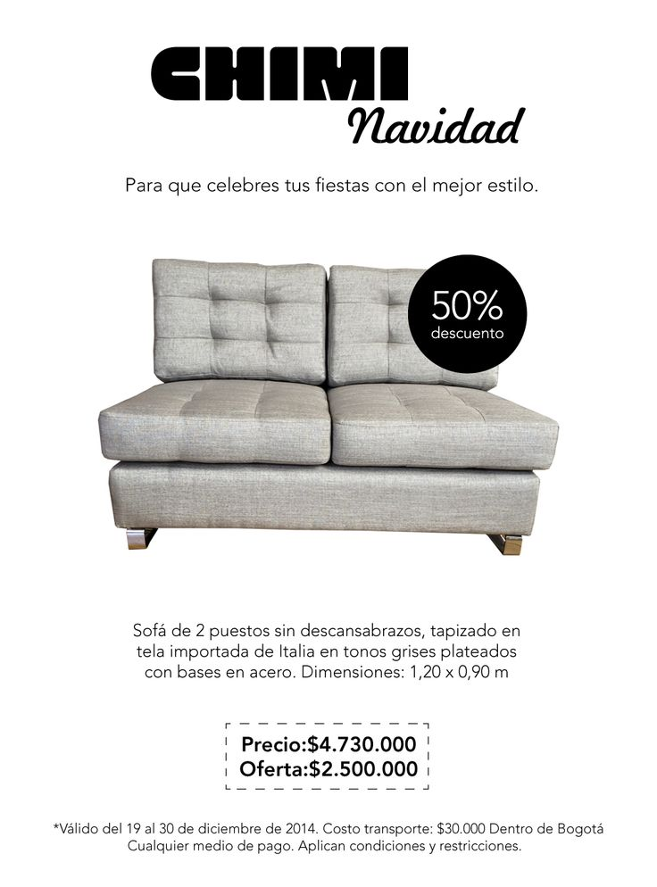 Sofá de 2 puestos sin descansabrazos, tapizado en tela importada de Italia en tonos grises plateados con bases en acero.   Dimensiones: 1,20 x 0,90 m