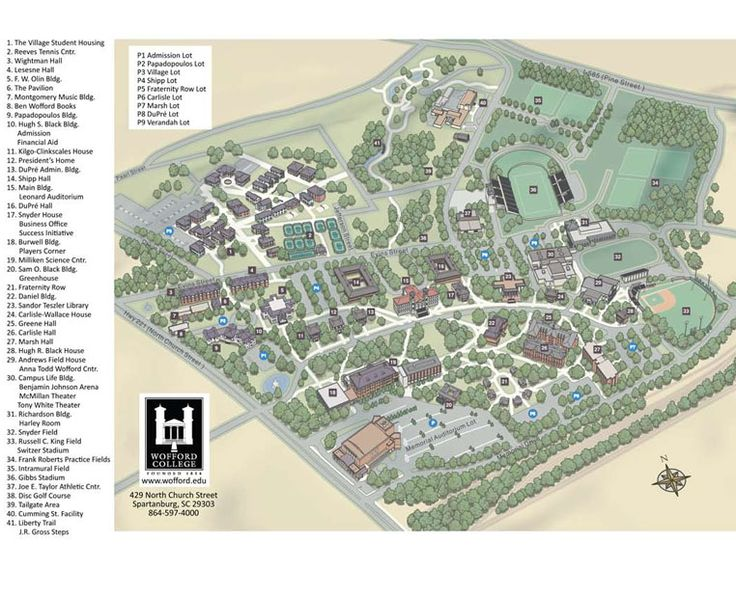 A current map of the Wofford College Campus   Creative ...