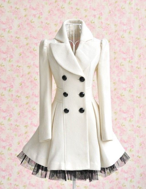 love!!!: Cute Coats, White Coats, Clothing, Dresses, Jackets, Peacoats, Winter Coats, Black, Ruffles