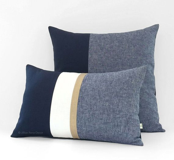 Navy Chambray Pillow Cover (Set of 2) 12x20 Gold Stripe and 20x20 Colorblock - Modern Home Decor by #JillianReneDecor - Nautical Pillows