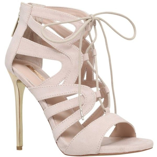 Carvela Game Lace Up Stiletto Sandals, Nude ($185) ❤ liked on Polyvore featuring shoes, sandals, heels, flat sandals, lace up sandals, low heel sandals, nude sandals and peep toe flat sandals