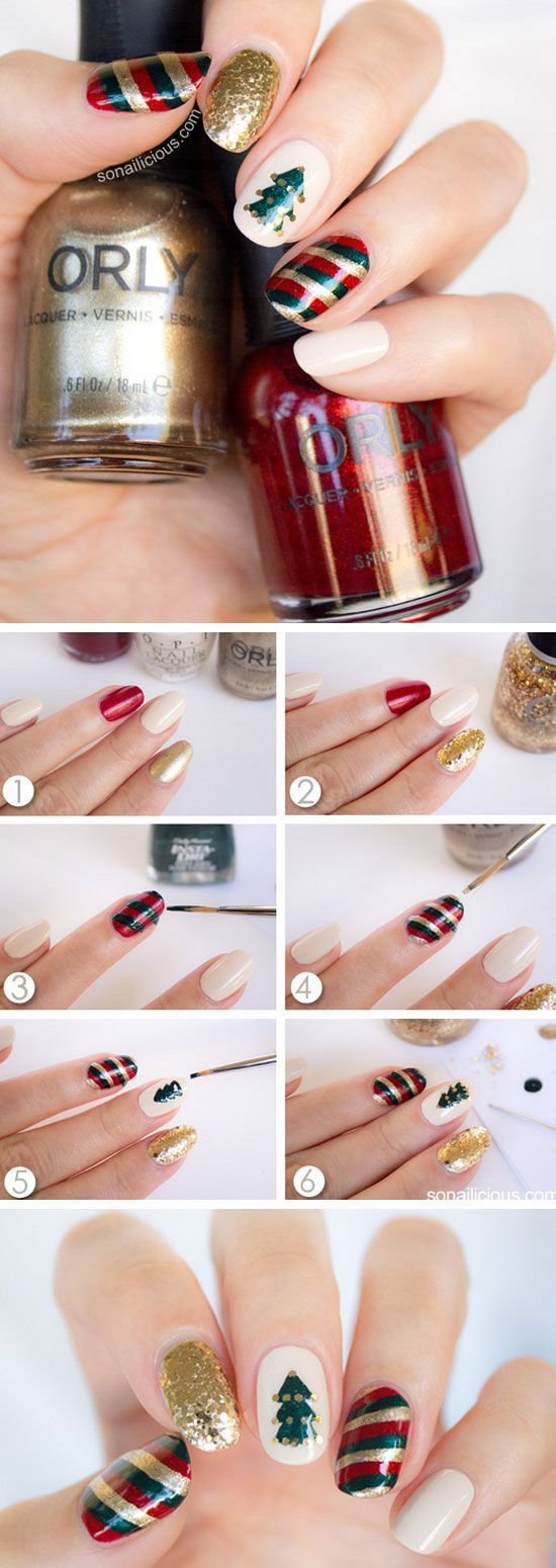 Mix'n'Match Christmas Nail Art Tutorial   Click Pic for 20 Easy Christmas Nails Art Designs Winter   Easy Nails Designs for Short Nails