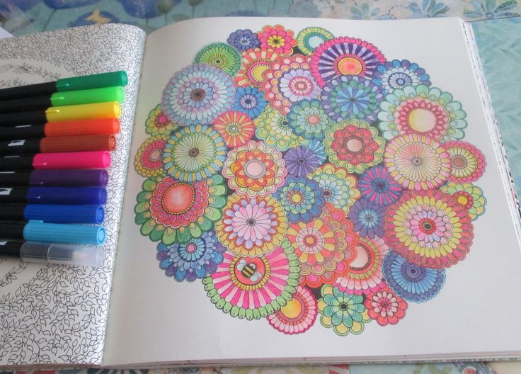 Secret Garden Flower Mandala Colored With Tombow Brush Tip Artists Markers And A Blender Pen