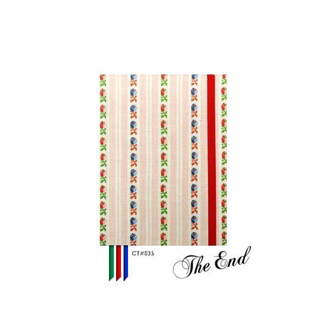 Cuaderno CT#035. Tamaño: 12 X 15 cm. Tapa dura forrada con tela estampada. 100 hojas lisas Bookcell de 80 gr. 3 Cintas señaladoras en combinación. Elástico sujetador a tono.