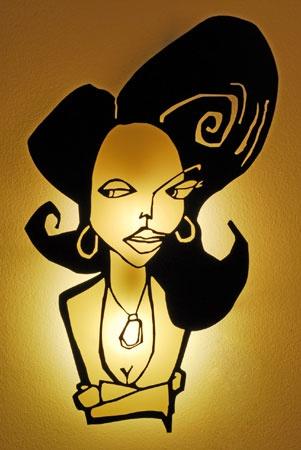 lámpara mujer esperando