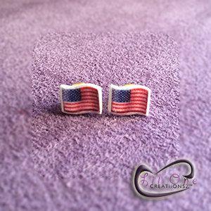 Fun Emoji Patriotic American Flag Earrings by LiLONECREATiiONSZ