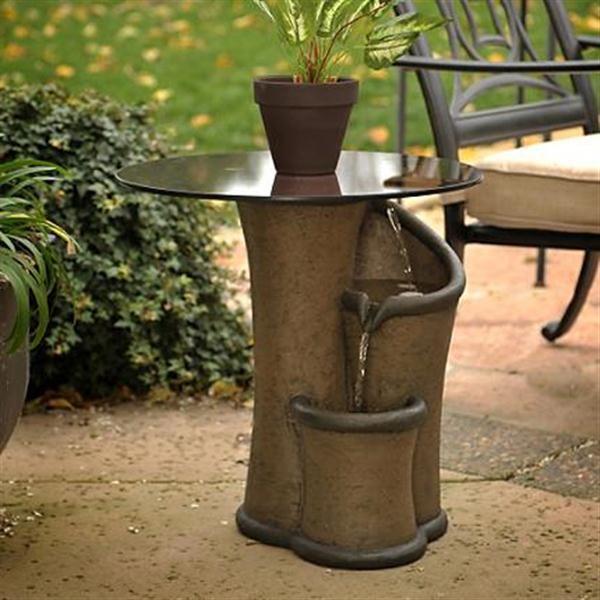 Contemporary ZEN Outdoor Fountain Ideas With Small Table Furniture ZEN Fountain  Contemporary Garden Furniture Ideas With A Small Table