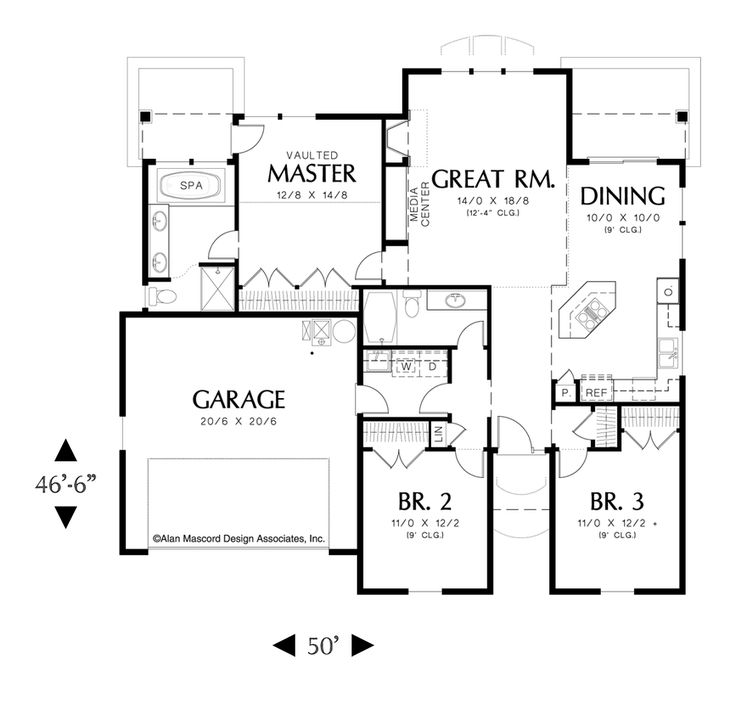 Main Floor Plan Of Mascord Plan 1148   The Glenview   Spacious Starter Home  Plan With Part 64