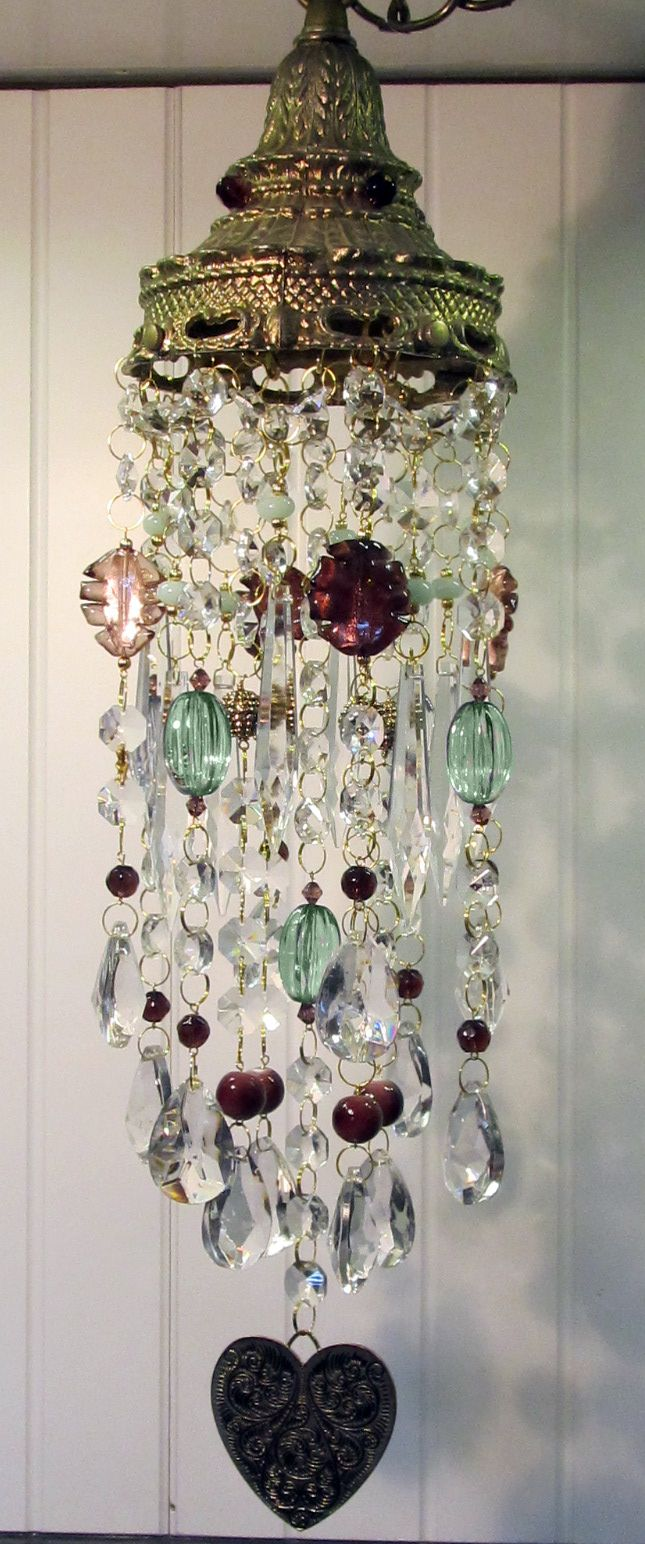 Purple and sage green crystal wind chime sun catcher. By Leah. Sold.