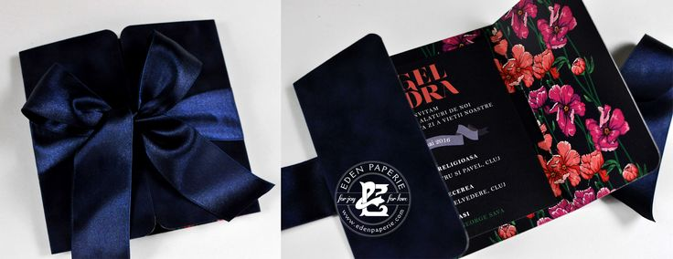 Deep blue suede event invitation