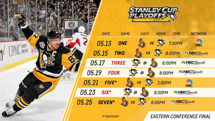 Penguins to Host the Senators in Game 1 of the Eastern Conference Final