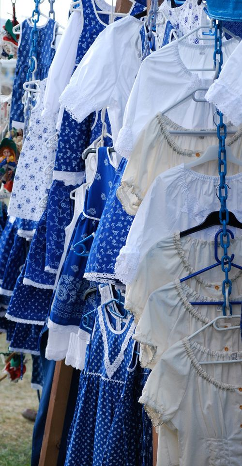 Hungarian traditional costumes- blue dyed fabric