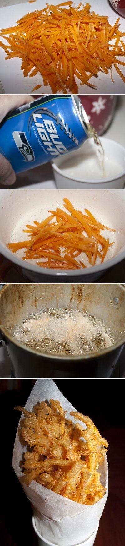 Beer Battered Shoestring Carrots