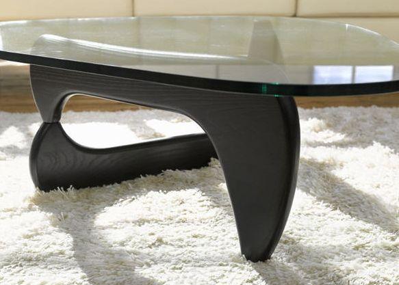 table design plateau verre et pied bois noir
