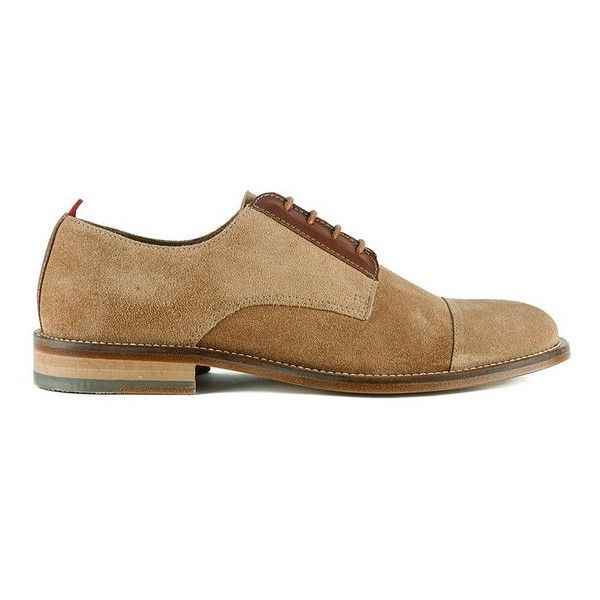 Oliver Spencer Men's Banbury Lace Up Suede Derby Shoes ($135) ❤ liked on Polyvore featuring men's fashion, men's shoes, men's dress shoes, brown, mens dress shoes, mens brown dress shoes, mens brown cap toe dress shoes, mens suede dress shoes and mens brown suede shoes