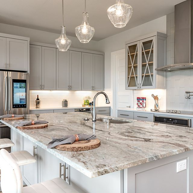 One Of My Favorite Kitchen Designs To Date The Island Is Hugeee With A Fantas Granite Countertops Kitchen White Granite Kitchen Replacing Kitchen Countertops