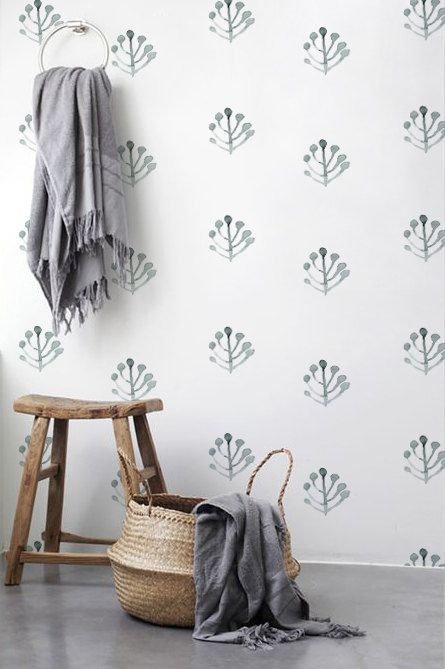 Boho decal, Leaves wallpaper, Removable wallpaper, Watercolor pattern, BW062A