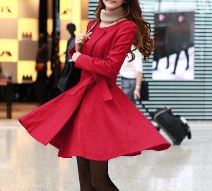 Winter Coat red Black Coat Long Wool Coat Winter Jacket Long Sleeve Coat / Autumn coat -(160) on Etsy, $69.99