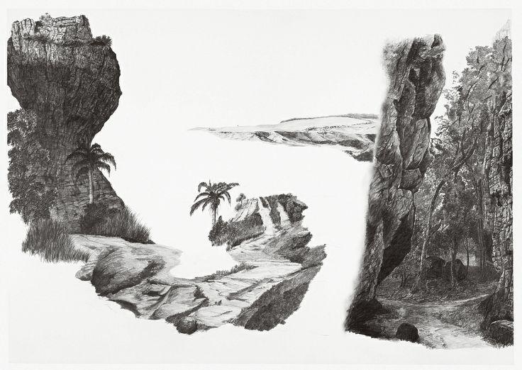 """francisco faria - """"spread on vila velha 1"""", 2000. Graphite on paper, 70 x 100 cm."""