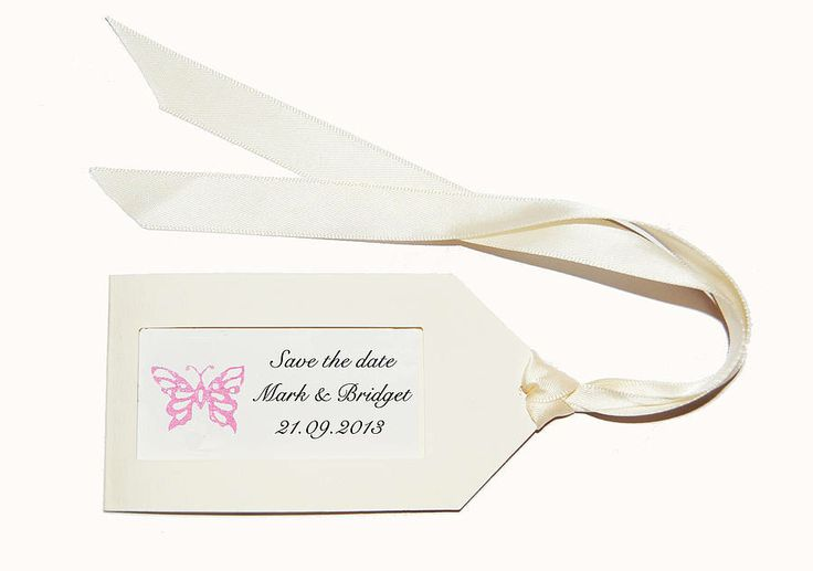 'save the date' tags, ribbon with envelopes by honey tree publishing | notonthehighstreet.com