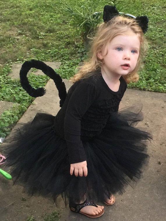 Black Cat Tutu - Black Cat Halloween Costume - Black Cat Costume for Toddler - Kitty Costume - Kitty Cat - Includes Tutu, Ears, and Tail.