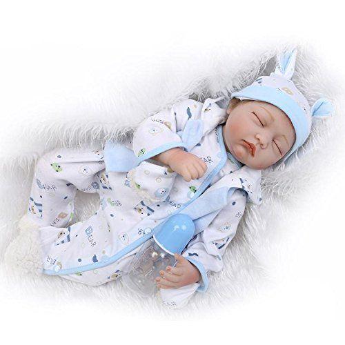 Nicery Reborn Bambola molle del bambino di simulazione del silicone vinile 22 pollici 55 centimetri magnetica Bocca realistica sveglia del giocattolo dei bambini Blu Bianco con gli occhi chiusi Regalo di Natale Reborn Doll