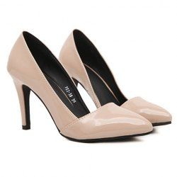 Korean Style Women's Pumps With Pointed Toe and Solid Color Design